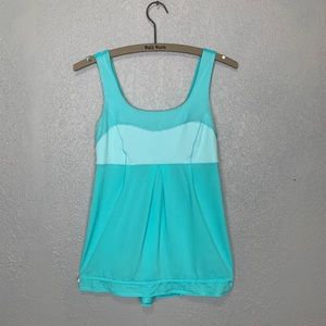 Lululemon turquoise drawstring loose fit tank top